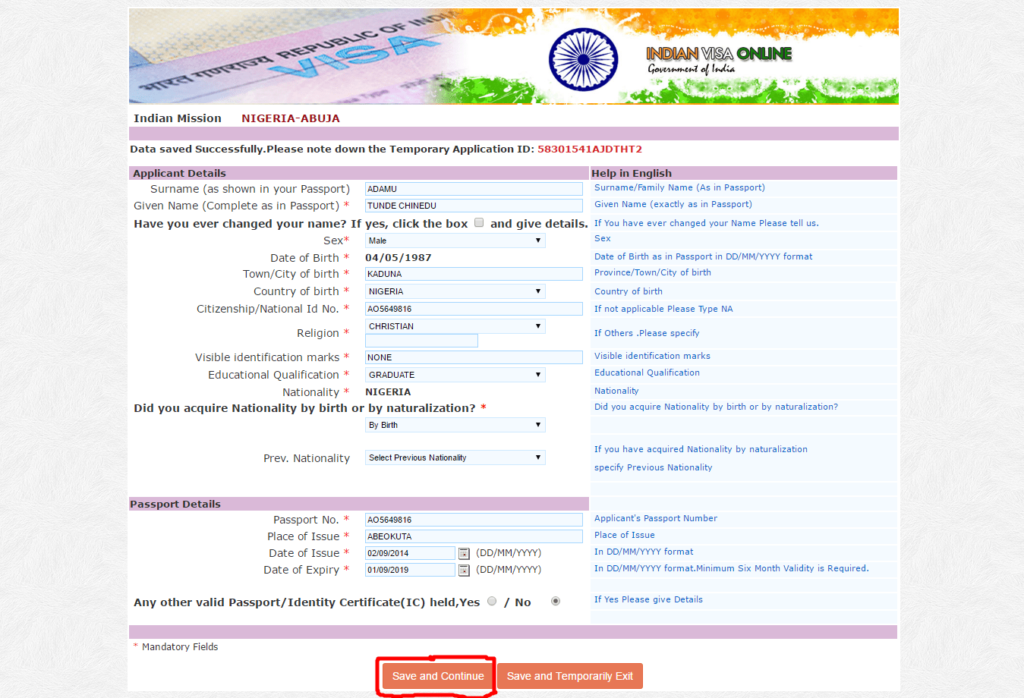 Indian Medical Visa Application Form
